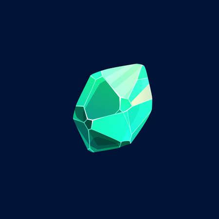 Green magic crystal vector icon, rock, organic gem stone. Jewelry piece for ui game, isolated cartoon sign, raw precious or semiprecious mineral, emerald or beryl gemstone