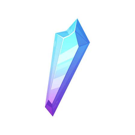 Blue magic crystal gem isolated angelite turquoise sadelite cartoon icon. Vector Jewel mineral stone, natural gemstone zircon. Apatite opal quartz glass. Ui game jewelry, precious gemology rock Vector Illustratie