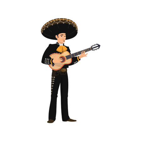 Carnival musician Mariachi playing guitar isolated. Vector spanish guitarist latino street player in national black costume and sombrero hat with string musical instrument. Latino music band mariachi Ilustración de vector