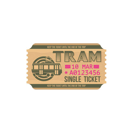 Single ticket on city tram isolated paper card. Vector numbered passenger boarding pass on urban transportation wagon. City transport department travel ticket with mention of date of departure Vecteurs