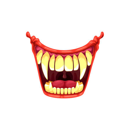 Vampire or clown mouth with fangs vector icon. Cartoon monster roar scary jaws with long pointed teeth, open yell maw roar or yell isolated on white background
