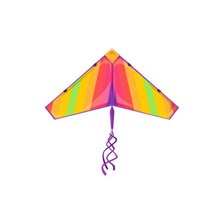 Rainbow color kite symbol of Maghi festival celebration isolated object. Vector kids toy in shape of bird with wings, summer fun. Dragon kite-balloon flying tradition of Makar Sankranti in India
