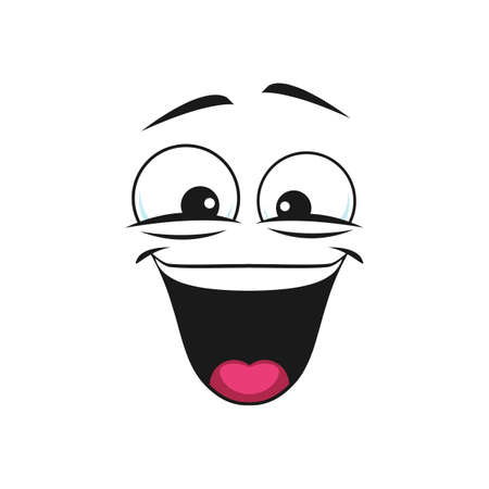 Satisfied emoji isolated emoticon in good mood. Vector glad smiley with open mouth, funny laughing head. Vector pleased positive facial emotion of joy and happiness. Satisfied emoji support center bot