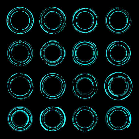 HUD round frames. Aim and target control panels, digital interface of Sci Fi and shooting games. Futuristic head up display frames and borders design for aim or target vector screens