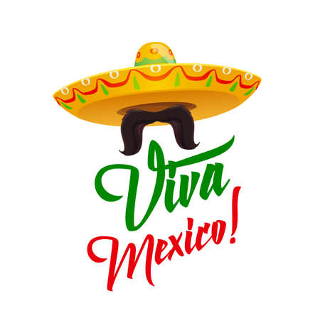 Viva Mexico, sombrero with mustaches, vector Mexican holiday symbolic in red and green flag colors. Cartoon traditional Latin culture symbol isolated on white background. Fiesta party celebration