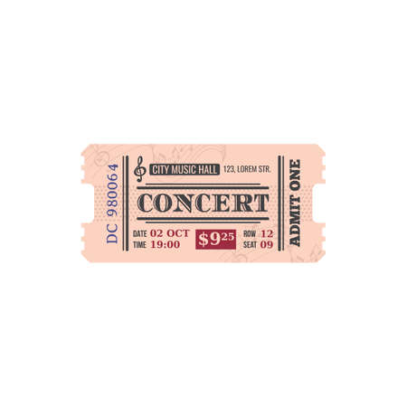 Full ticket to city musical hall isolated retro paper card. Vector invitation to listen to classical music, mention of date and price. Voucher access to single entry to conservatory, music performance