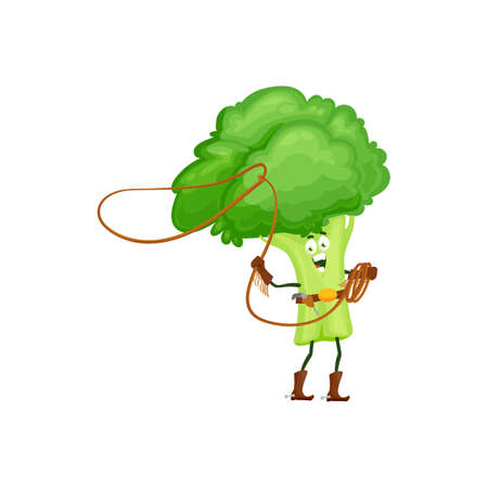 Cartoon broccoli cowboy isolated vector icon funny vegetable with lasso and gun wear boots with spurs. Fantasy character, healthy food, vitamin super hero personage