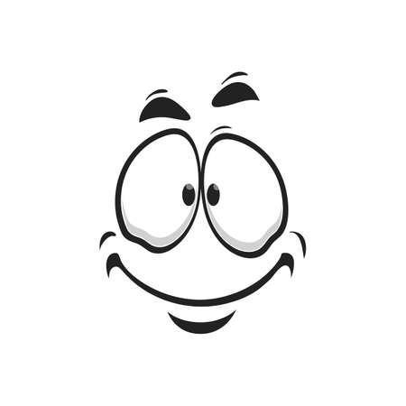 Satisfied emoji, support center bot avatar with kind smile isolated laughing head, world smile day symbol. Happy smiley with laughing mouth, emoticon emoji sticker, person chatbot in good mood