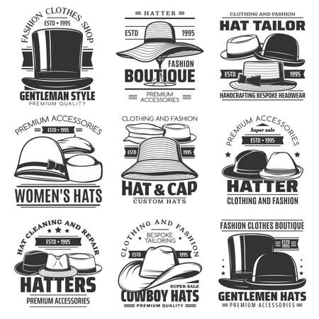Hatter, hat tailor and cowboy hat icons, headwear shop or hatmaking millinery salon vector emblems. Gentlemen caps and women retro hats tailoring and sewing workshop or fashion accessories Ilustração Vetorial