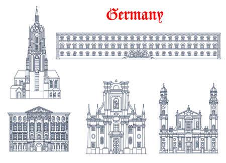 Germany architecture, Munich buildings and travel landmarks of Bavaria, vector. Theatine Church of St Cajetan Trinity Church and Saint Bartholomew cathedral, Bavarian State Library and Preysing Palace Vektorgrafik
