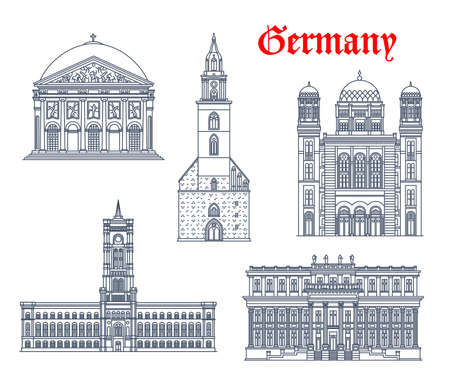 Germany architecture, Berlin buildings and historic landmarks, vector icons. Marienkirche church, Rotes Rathaus and Kronprinzenpalais palace, Saint Hedwig Dom Cathedral and New Synagogue of Berlin