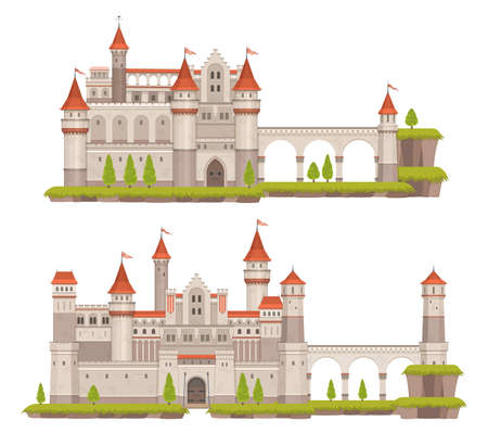 Cartoon medieval fairytale stone castle with towers, gate and flags. Ancient palace, vector fantasy fortress or kings residence with high walls, drawbridge, terraces and stone towers Vecteurs