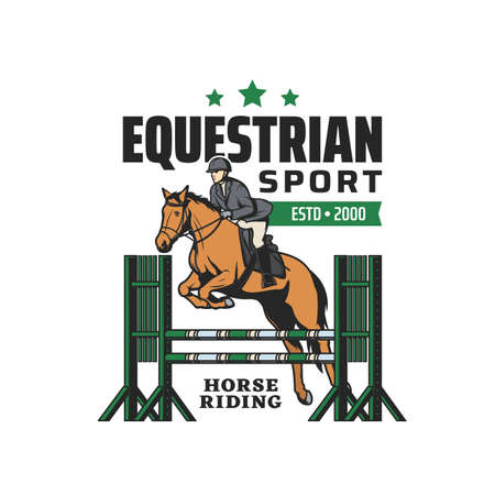 Horse riding, equestrian sport and steeplechase races tournament, vector emblem. Horse and equine rides club badge with polo or jockey on hippodrome, premium sport club sign