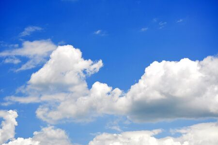 A Cloudy Sky With Bright Blues. Stock Photo