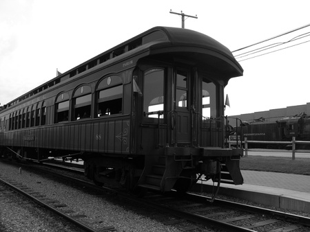 Black And White Image Of A Train.