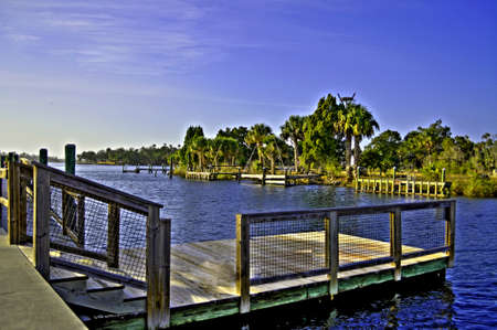 A boat dock shot in HDR.  Stock Photo