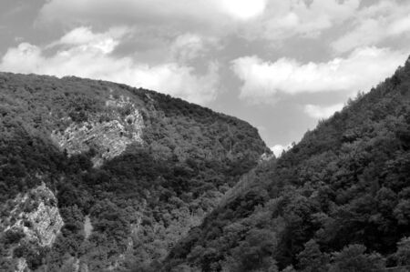A black and white shot of Hills and Mountains.