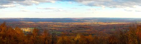 A panoramic autumn fall landscape of a valley             Stock Photo