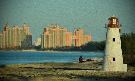 Lighthouse z efekt farby olejnej