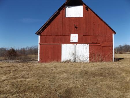 barns winter: red barn Stock Photo