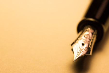 business book: fountain pen on paper, macro