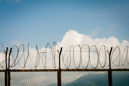 barb wire isolated: barbed wire fence razor blue sky clouds Stock Photo