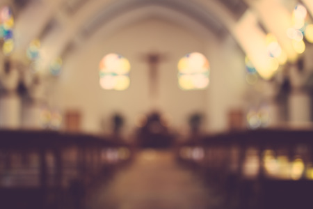 spiritual architecture: church interior blur abstract background