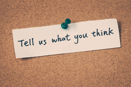 tell: Tell us what you think Stock Photo