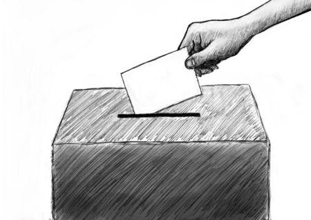 Vote. Hand drawn digital illustration.