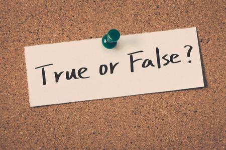 falso: verdadero o falso Foto de archivo