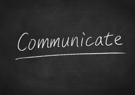 comunicarse: comunicar Foto de archivo