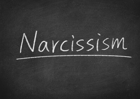 narcissism concept word on a blackboard background