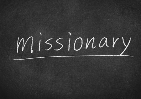 missionary concept word on a blackboard background Stock Photo - 104481236