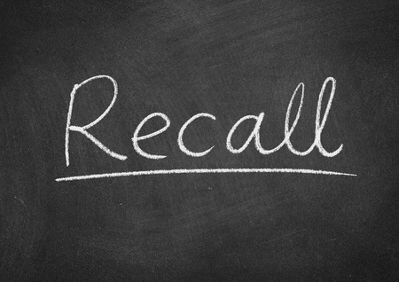recall concept word on a blackboard background