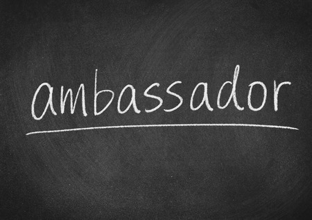 ambassador concept word on a blackboard background Stock Photo