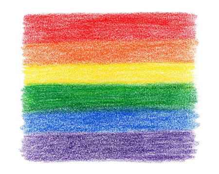 rainbow flag colored pencil texture on white background Banque d'images