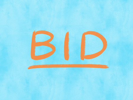 bid concept word on watercolor texture background