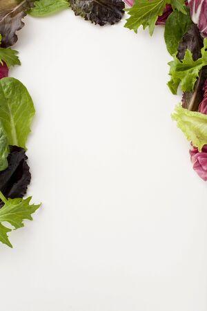 Verse salade laat maken van een decoratieve rand van drie kwart