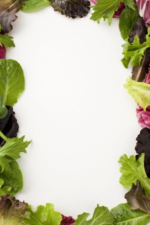 green's: Fresh salad leaves creating a decorative border