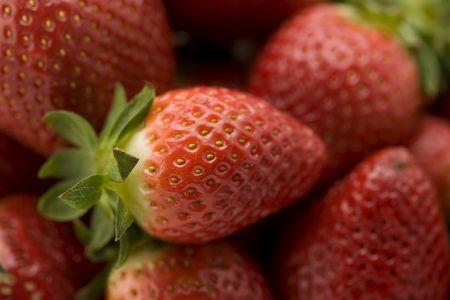 Een bos van aardbeien met selectieve aandacht