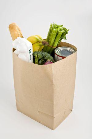 Brown paper bag full of groceries