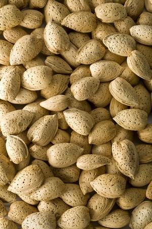 Unshelled almonds filling the frame