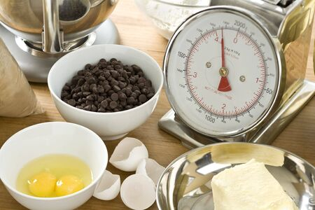 Ingredients for making chocolate chip cookies