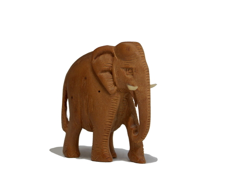 Carved wooden elephant from a street vendor in India Stock Photo