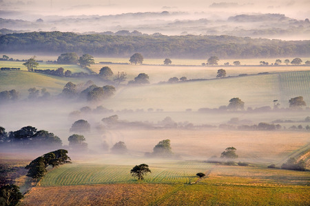 south downs: Summer mist on the Weald Stock Photo