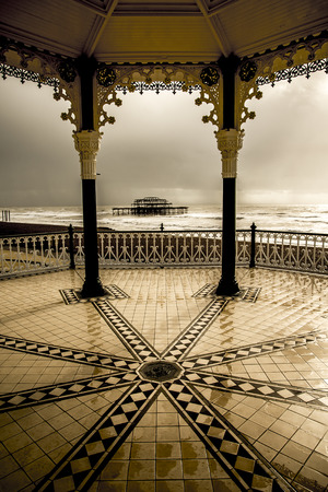 brighton: Bandstand and West pier in Brighton Stock Photo