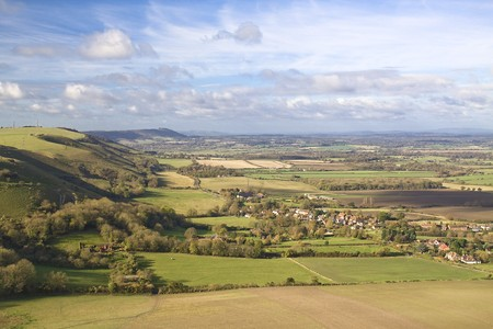 russet: The downland village of Fulking in the Sussex weald viewed from Devils Dyke Stock Photo