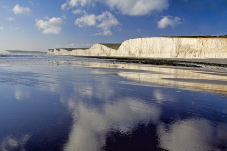 seven sisters: The Seven Sisters reflected at low tide