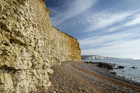 Chalk meets the sea at Cuckmere Haven Stock Photo