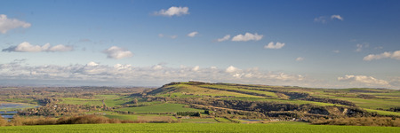 south downs: Panorama of the South Downs at Amberley Stock Photo